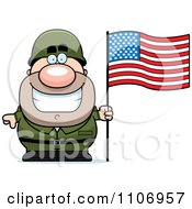 Clipart Male Army Soldier With An American Flag Royalty Free Vector Illustration