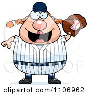 Clipart Female Baseball Player Catching A Ball Royalty Free Vector Illustration