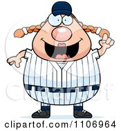Clipart Female Baseball Player With An Idea Royalty Free Vector Illustration