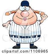 Clipart Waving Female Baseball Player Royalty Free Vector Illustration