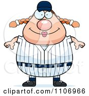Clipart Happy Female Baseball Player Royalty Free Vector Illustration