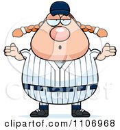 Clipart Careless Shrugging Female Baseball Player Royalty Free Vector Illustration