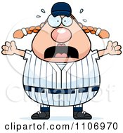 Clipart Stressed Female Baseball Player Royalty Free Vector Illustration