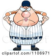 Clipart Angry Female Baseball Player Royalty Free Vector Illustration