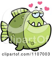 Clipart Green Piranha Fish In Love Royalty Free Vector Illustration by Cory Thoman