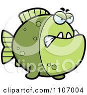 Clipart Mad Green Piranha Fish Royalty Free Vector Illustration by Cory Thoman