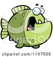Clipart Scared Green Piranha Fish Royalty Free Vector Illustration by Cory Thoman