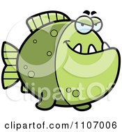 Clipart Sly Green Piranha Fish Royalty Free Vector Illustration by Cory Thoman