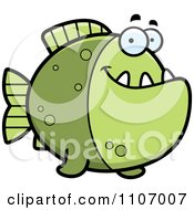 Clipart Happy Green Piranha Fish Royalty Free Vector Illustration by Cory Thoman