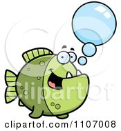 Clipart Talking Green Piranha Fish Royalty Free Vector Illustration by Cory Thoman