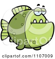 Clipart Bored Green Piranha Fish Royalty Free Vector Illustration by Cory Thoman