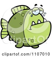 Clipart Crying Green Piranha Fish Royalty Free Vector Illustration by Cory Thoman