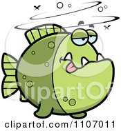 Clipart Drunk Green Piranha Fish Royalty Free Vector Illustration by Cory Thoman