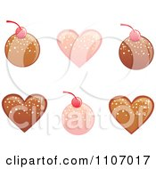 Clipart Pink And Chocolate Round And Heart Bonbons Royalty Free Vector Illustration by Amanda Kate