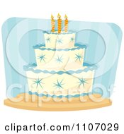 Clipart Boys Birthday Cake With Blue Stars And Piping Over Stripes Royalty Free Vector Illustration by Amanda Kate