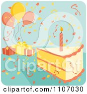Candle In A Birthday Cake Slice With Confetti Balloons And Gifts On Blue
