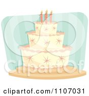 Girls Birthday Cake With Pink Stars And Piping Over Stripes