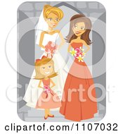 Happy Bride Posing With Her Bridesmaid And Flower Girl