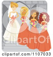 Clipart Happy Bride Posing With Her Bridesmaids Royalty Free Vector Illustration