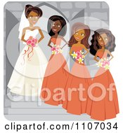 Clipart Happy Black Bride Posing With Her Bridesmaids Royalty Free Vector Illustration