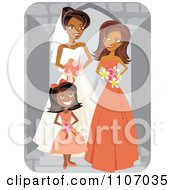 Happy Black Bride Posing With Her Maid Of Honor And Flower Girl