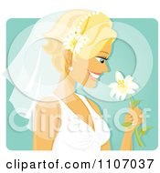 Clipart Happy Blond Bride Smelling A Flower Over Turquoise Royalty Free Vector Illustration