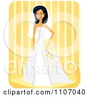Happy Bride With Her Veil And Bouquet Over Yellow Stripes