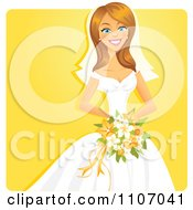 Happy Bride Holding Her Bouquet Over Yellow