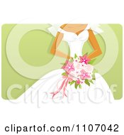Clipart Bride Holding A Pink Bouquet Over Green Royalty Free Vector Illustration by Amanda Kate #COLLC1107042-0177