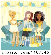 Clipart Friends Giving A Pregnant Woman Baby Shower Gifts Royalty Free Vector Illustration by Amanda Kate