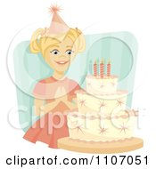 Clipart Happy Birthday Girl Making A Wish Before Blowing Out Her Birthday Cake Candles Over Blue Stripes Royalty Free Vector Illustration