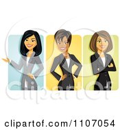 Clipart Asian Black And Caucasian Businseswomen Avatars Royalty Free Vector Illustration