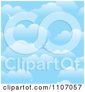 Blue Sky And Seagull Background With Puffy Clouds