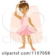 Clipart Happy Hispanic Ballerina Girl Dancing Over A Pink Rectangle Royalty Free Vector Illustration