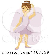 Clipart Happy Brunette Ballerina Girl Dancing Over A Purple Rectangle Royalty Free Vector Illustration by Amanda Kate