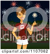 Clipart Brunette Woman Holding A Sparkler And Celebrating Canada Day Royalty Free Vector Illustration