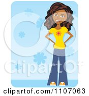 Clipart Happy Black Teenage Girl Wearing Bell Bottoms Over Blue Floral Royalty Free Vector Illustration
