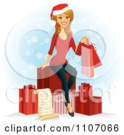Clipart Happy Caucasian Woman With A Christmas Shopping List Bags And Gifts Over Snowflakes Royalty Free Vector Illustration by Amanda Kate #COLLC1107066-0177