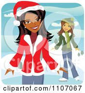 Clipart Two Happy Christmas Women Ice Skating In The Winter Royalty Free Vector Illustration
