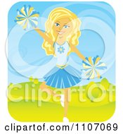 Clipart Blond Teenage Cheerleader Jumping With Pom Poms Outdoors Royalty Free Vector Illustration