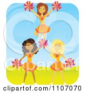 Clipart Happy Cheerleaders Forming A Pyramid Royalty Free Vector Illustration