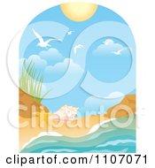 Beach Window Scene With Surf Shells Gulls And Sun