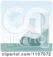 Clipart Science Laboratory Beakers With Chemicals Over Blue Royalty Free Vector Illustration