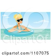 Clipart Blond Woman Wearing Shades And Floating In An Inner Tube Royalty Free Vector Illustration