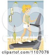 Happy Blond Woman Using A Treadmill In Her Home Gym