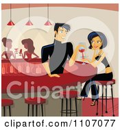 Flirty Male Bartender Pouring A Beautiful Woman A Drink At The Counter