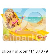 Beautiful Woman Sun Bathing Drinking A Cocktail And Talking On Her Cell Phone On A Beach
