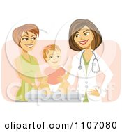 Clipart Happy Female Pediatric Doctor With A Baby Girl And Mom Over Pink Royalty Free Vector Illustration by Amanda Kate #COLLC1107080-0177