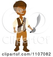 Clipart Happy Hispanic Pirate Boy Holding A Sword Royalty Free Vector Illustration