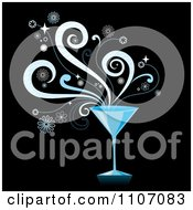Blue Martini Cocktail With Splashes On Black